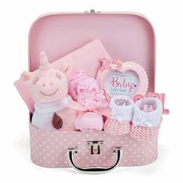 Baby Geschenk Mädchen mit Baby Erstausstattung, Baby Set einschließlich Rassel, Fotorahmen, Musselin Tuch, Lätzchen, Socken, Handschuhe und Mütze - 1