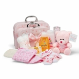 Baby Geschenkset I Geschenk Geburt & Taufe I Originelle Geschenkidee für Neugeborene – 2 Süße Erinnerungsboxen mit Teddy, Kleidung, Lätzchen, Badeschaum – Geschenke zur Geburt Mädchen - 1
