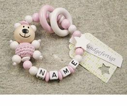 Baby Greifling Beißring geschlossen mit Namen - individuelles Holz Lernspielzeug als Geschenk zur Geburt Taufe - Mädchen Motiv Bär und Stern in weiss - 1