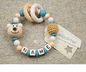 Baby Greifling Beißring geschlossen mit Namen - individuelles Holz Lernspielzeug als Geschenk zur Geburt Taufe - Mädchen Jungen Motiv Bär in weiss türkis - 1