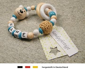 Baby Greifling Beißring geschlossen mit Namen - individuelles Holz Lernspielzeug als Geschenk zur Geburt Taufe - Mädchen Jungen Motiv Bär in weiss türkis - 2