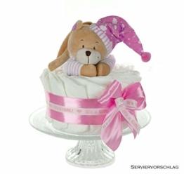 dubistda© Windeltorte Mädchen in babyrosa GIRL | Spieluhr Bär | Geschenk zur Geburt, Babyparty & Taufe - 1