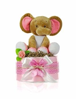 dubistda© Windeltorte Mädchen LITTLE PEANUT + große Elefanten Spieluhr | Geschenk für Mädchen zur Geburt Babyparty Babyshower (rosa) - 1