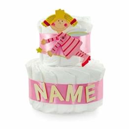 dubistda© Windeltorte Schutzengel für Mädchen personalisiert mit Namen / 25cm - Geschenk zur Geburt für Mädchen mit Grußkarte (rosa) - 1