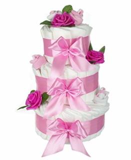 dubistda© XXL Windeltorte rosa für Mädchen ROSENBLÜTE / 63-teilig / Geschenk zur Geburt / 45cm - 1