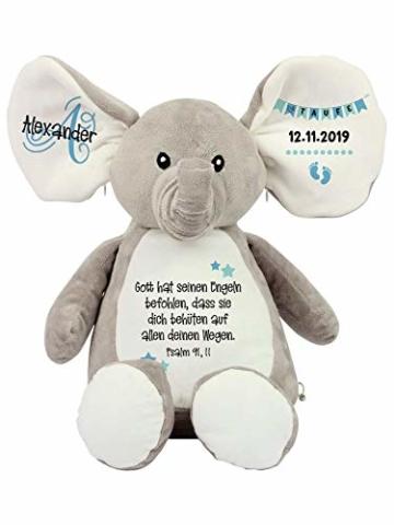 Elefant Baby-Geschenk Kuscheltier Geschenkidee zur Geburt & Taufe personalisiert mit Namen Geburtsdaten Taufspruch - 3