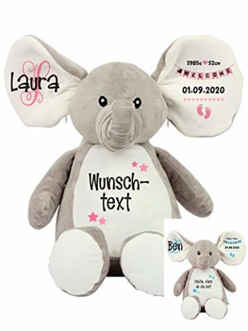 Elefant Baby-Geschenk Kuscheltier Geschenkidee zur Geburt & Taufe personalisiert mit Namen Geburtsdaten Taufspruch - 1