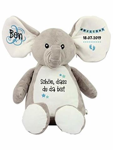 Elefant Baby-Geschenk Kuscheltier Geschenkidee zur Geburt & Taufe personalisiert mit Namen Geburtsdaten Taufspruch - 5
