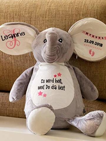 Elefant Baby-Geschenk Kuscheltier Geschenkidee zur Geburt & Taufe personalisiert mit Namen Geburtsdaten Taufspruch - 6