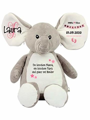 Elefant Baby-Geschenk Kuscheltier Geschenkidee zur Geburt & Taufe personalisiert mit Namen Geburtsdaten Taufspruch - 7