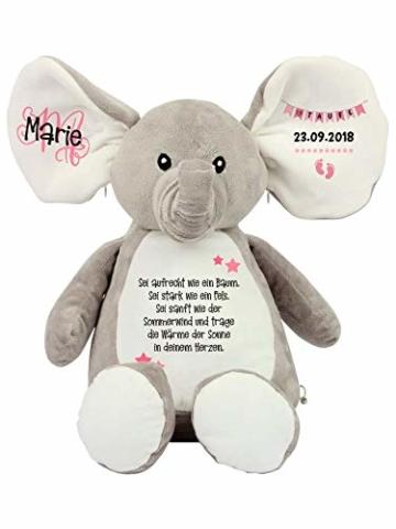 Elefant Baby-Geschenk Kuscheltier Geschenkidee zur Geburt & Taufe personalisiert mit Namen Geburtsdaten Taufspruch - 8