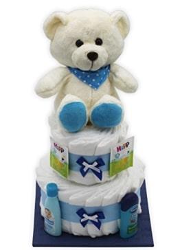 """Große Windeltorte/Windelgeschenk""""blauer Bär"""" für Jungen mit Teddybär - Geschenk zur Geburt + gratis Glückwunschkarte - 1"""