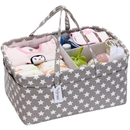 Hinwo Baby Windel Caddy 3-Compartment Infant Nursery Tote Aufbewahrungsbehälter Tragbare Organizer Neugeborenen Dusche Geschenkkorb mit abnehmbarem Teiler 10 unsichtbaren Taschen für Windeln - 1