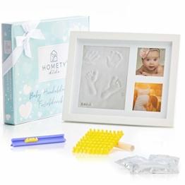 Homety® Gipsabdruck Baby Hand und Fuß mit Buchstaben Set und Bilderrahmen - Baby Handabdruck und Fußabdruck Baby - Schadstoff geprüft - Geschenk zur Geburt - 1