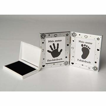 Kamelio Babyset mit Bilderrahmen Fußabdruck Handabdruck und 2 Döschen für die ersten Haare und Milchzähne - 3