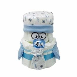 Kleines Windelbaby Bärchen PIMFI 23tlg. in blau für Jungen. Geschenk zur Geburt Babyparty Taufe (Blau) Geschenkfertig in Folie verpackt. - 1