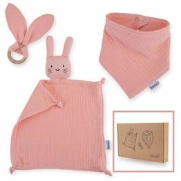 Räuberella Schmusetuch, Beißring und Lätzchen Baby Geschenk zur Geburt Mädchen - 1
