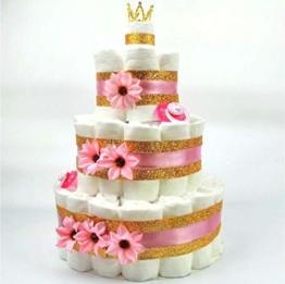Soulstice® XXL Windeltorte in Pink & Gold für Mädchen, Prinzessinnen-Geschenk, Baby-Party oder Geburt, Windelkuchen mit 60 Pampers® - 1