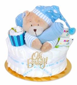 Trend Mama Windeltorte Junge -Traum in hellblau- mit Spieluhr Bär-hellblaues Lätzchen-Baby Tee-Babysocken als Muffin dekoriert- - 1