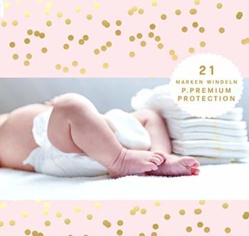 Trend Mama Windeltorte Mädchen -Babysocken + Lätzchen handbedruckt mit coolem Spruch -Sorry Jungs!! Keine Dates sagt Papa-hochwertig verpackt im Geschenkkarton - 4