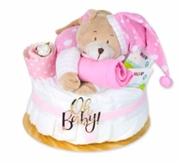 Trend Mama Windeltorte Mädchen -Traum in rosa- mit Spieluhr Bär-rosa Lätzchen-Baby Tee-Babysocken als Muffin dekoriert- - 1