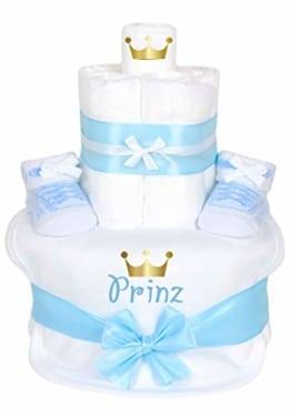 Trend Mama Windeltorte Prinz -hochwertig verpackt im Geschenkkarton- hellblau Junge Babysocken Sneaker Style + bedrucktes Lätzchen - Prinz mit goldener Krone - 1