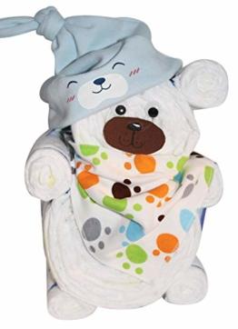 Windelgeschenk/Windeltorte/Windelbär mit Beanie + Dreieckstuch Junge Baby -> Windelgeschenk Junge -> tolles WINDELGESCHENK zur Geburt -> babyshower geschenk (blau Gr. 2) - 1