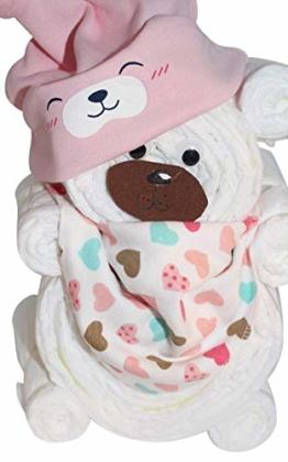 Windelgeschenk/Windeltorte/Windelbär mit Beanie + Dreieckstuch Mädchen Baby -> Windelgeschenk Mädchen -> tolles Geschenk zur Geburt (rosa Gr. 2) - 1
