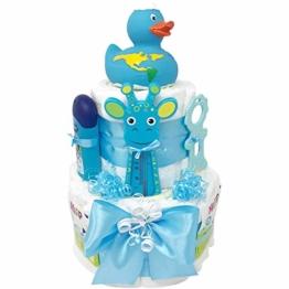 Windeltorte Badeentchen Hugo Blau 30tlg. Geschenk zur Taufe oder Geburt Geschenkfertig in Celophan verpackt. Auf Wunsch mit kostenlosen Grußkärtchen und Wunschtext. Junge (Blau) - 1