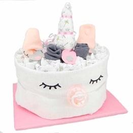 Windeltorte.com Einhorn Windeltorte für Mädchen - Süßes Geschenk für die Babyparty mit 21 hautfreundlichen LILLYDOO Windeln - Nützliches Geschenk zur Geburt - 1