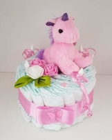 """Windeltorte rosa, Geschenk zum Geburt, Taufe, Babyparty Mädchen, Einhorn, Windeln""""Pampers"""" Gr.3 - 1"""