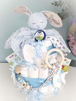 Windeltorte XXL - Kuscheltier süßer Hase - Schnullerkette & Greifling - Geschenk, Babyparty, Geburt Taufe + auf Wunsch Gratis Grußkärtchen - 1
