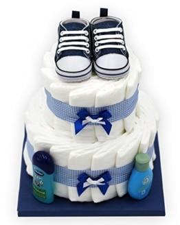 """Windeltorte""""Blue Shoes"""" für Jungen - mit süßen Babyschuhen - das perfekte Geschenk zur Geburt oder Taufe + gratis Grußkärtchen - 1"""
