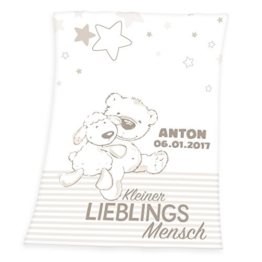 Wolimbo Flausch Babydecke mit Ihrem Wunsch-Namen und Bärchen Lieblingsmensch Motiv - personalisierte/individuelle Geschenke für Babys und Kinder zur Geburt, Taufe und Geburtstag - 75x100 cm - 1
