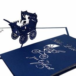 """3D Karte zur Geburt """"Junge - Kinderwagen"""" - Pop-Up Karten zur Geburt - Glückwunschkarte zum 1. Geburtstag als Gutschein, kleines Geschenk, Geschenkgutschein & Geschenkverpackung - 1"""