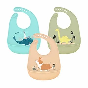 atopo 3er Set Baby Silikon Lätzchen Wasserdicht Silikon-lätzchen für Fütterung mit Auffangschale Einfache Reinigung Weiche Lätzchen für Kleinkinder Baby Essen - 1