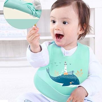 atopo 3er Set Baby Silikon Lätzchen Wasserdicht Silikon-lätzchen für Fütterung mit Auffangschale Einfache Reinigung Weiche Lätzchen für Kleinkinder Baby Essen - 5