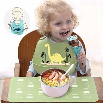 atopo 3er Set Baby Silikon Lätzchen Wasserdicht Silikon-lätzchen für Fütterung mit Auffangschale Einfache Reinigung Weiche Lätzchen für Kleinkinder Baby Essen - 6