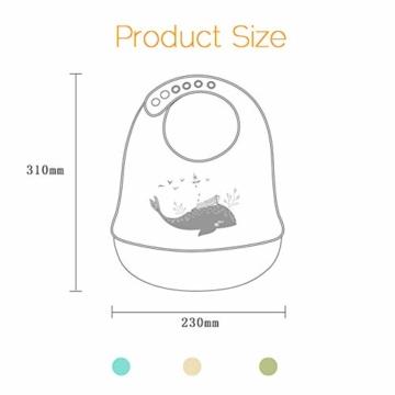 atopo 3er Set Baby Silikon Lätzchen Wasserdicht Silikon-lätzchen für Fütterung mit Auffangschale Einfache Reinigung Weiche Lätzchen für Kleinkinder Baby Essen - 7