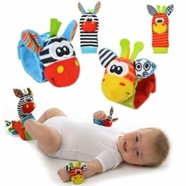 Baby Rattle Toy – Cute Animal Infant 4 (2 Waist and Socks) Soft Wrist Strap Rattles & Foot Finder Set Soft Development Toy for Children, Colourful by Funky Planet - 1