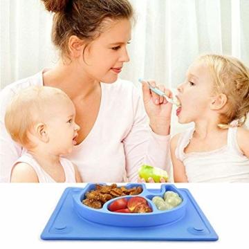 Baby Teller, Silikon Rutschfester Baby Tischset mit Saugnapf für Baby Kleinkind und Kinder,kinderteller passend für die meisten Hochstuhl-Tabletts-26 x 20 x 3 cm (Blau) - 2