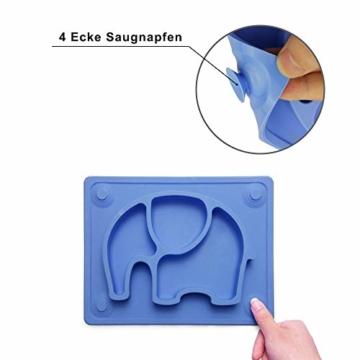 Baby Teller, Silikon Rutschfester Baby Tischset mit Saugnapf für Baby Kleinkind und Kinder,kinderteller passend für die meisten Hochstuhl-Tabletts-26 x 20 x 3 cm (Blau) - 3