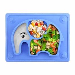 Baby Teller, Silikon Rutschfester Baby Tischset mit Saugnapf für Baby Kleinkind und Kinder,kinderteller passend für die meisten Hochstuhl-Tabletts-26 x 20 x 3 cm (Blau) - 1