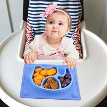 Baby Teller, Silikon Rutschfester Baby Tischset mit Saugnapf für Baby Kleinkind und Kinder,kinderteller passend für die meisten Hochstuhl-Tabletts-26 x 20 x 3 cm (Blau) - 5