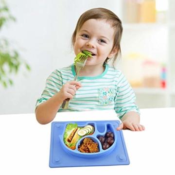 Baby Teller, Silikon Rutschfester Baby Tischset mit Saugnapf für Baby Kleinkind und Kinder,kinderteller passend für die meisten Hochstuhl-Tabletts-26 x 20 x 3 cm (Blau) - 7