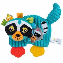 Balibazoo 80153 Raccoon Teether John, Clip & Go Sensorikspielzeug, Babyspielzeug, Plüschtier, Kinderbettzeug, Babyfreund, Kinderwagenanhänger, sicheres Spielzeug ab 0 Monaten - 1