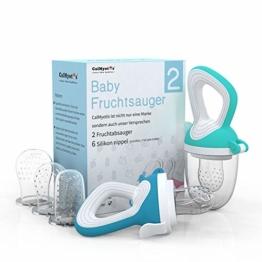 CalMyotis Fruchtsauger Baby, 2 Stück Kleinkind Fruchtsauger Schnuller Beißring für Obst Gemüse Brei, BPA frei, 6 Silikon Sauger in 3 Größen (Blau + Grün) - 1