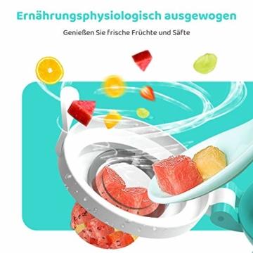 CalMyotis Fruchtsauger Baby, 2 Stück Kleinkind Fruchtsauger Schnuller Beißring für Obst Gemüse Brei, BPA frei, 6 Silikon Sauger in 3 Größen (Blau + Grün) - 4
