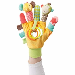 Fehn 074604 Spielhandschuh Safari – Fingerpuppen-Handschuh Affe und Elefant mit Rassel und Quietsche für Babys und Kleinkinder ab 0+ Monaten - 1