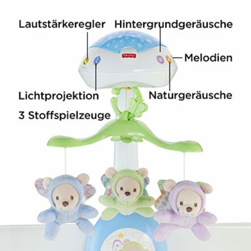 Fisher-Price CDN41 - 3 in 1 Traumbärchen Baby Mobile mit Spieluhr, Nachtlicht, White Noise und Sternenlicht Projektor, Babyausstattung ab Geburt - 3